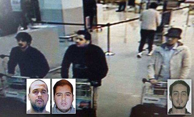 "TOPSHOT - A picture released on March 22, 2016 by the belgian federal police on demand of the Federal prosecutor shows a screengrab of the airport CCTV camera showing suspects of this morning's attacks at Brussels Airport, in Zaventem.  Two explosions in the departure hall of Brussels Airport this morning took the lives of 14 people, 81 got injured. Government sources speak of a terrorist attack. The terrorist threat level has been heightened to four across the country. / AFP PHOTO / BELGIAN FEDERAL POLICE / - / RESTRICTED TO EDITORIAL USE - MANDATORY CREDIT ""AFP PHOTO / BELGIAN FEDERAL POLICE"" - NO MARKETING NO ADVERTISING CAMPAIGNS - DISTRIBUTED AS A SERVICE TO CLIENTS -/AFP/Getty Images"